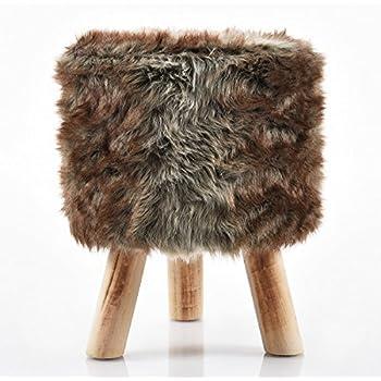 fellhocker 40 cm dunkel c090 hocker sitzhocker schemel h ttenzauber badhocker fell vintage. Black Bedroom Furniture Sets. Home Design Ideas