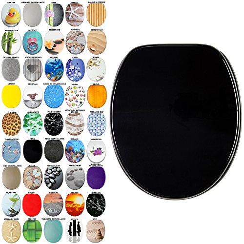 Sedile WC, grande scelta di belli sedili WC da legno robusto e di alta qualità (Nero)