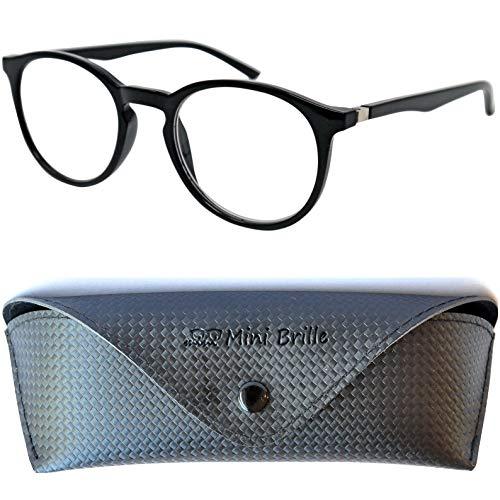 Klassische Nerd Lesebrille mit großen runden Gläsern - mit GRATIS Etui | Kunststoff Rahmen (Schwarz) | Lesehilfe für Damen und Herren | +1.5 Dioptrien
