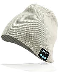 Gorra Bluetooth Hat Cap Auriculares Estéreo 4.2 Gorrita tejida Inalámbrica Conveniente para Deportes al aire libre Regalos de Navidad Negro y Gris (Gris)