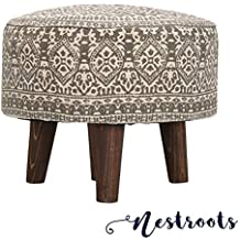 nestroots® Stool Pouffe Ottoman, Footrest, Puffy Solid Navy Color with 3 Wooden Legs for Added Stability
