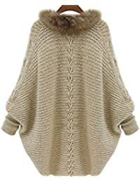 Honghu Casual Flojo Manga Larga Encapuchado Long Suéter para Mujer Cárdigans  Basic Ocio Punto Sweater… 775b38b8f6f0