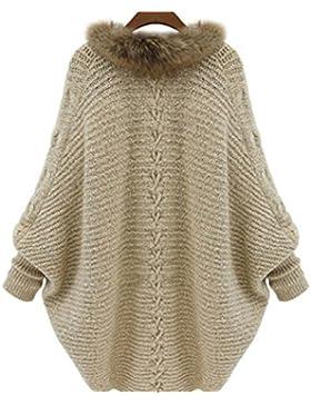 Honghu Casual Flojo Manga Larga Encapuchado Long Suéter para Mujer Cárdigans Basic Ocio Punto Sweater One Size...