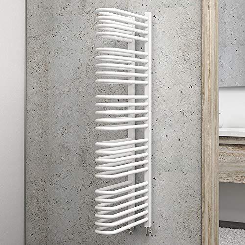 Schulte Bad-Heizkörper Raumteiler Porto, 120 cm, 1056 Watt, beidseitiger Anschluss unten, alpin-weiß, Design-Heizkörper für Zweirohr-Systeme mit Handtuchhalter-Funktion