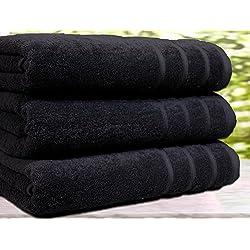 Juego de 3 toallas de baño, algodón egipcio de 550g/m², tamaño extragrande, algodón, negro, 3 Bath Towel