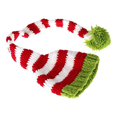 Neugeborenen Elfen Kostüm - Andoer Baby-Kind Elf Bernat Hut Mütze Long Tail Crochet Knitting Kostüm Weiche entzückende Kleider Foto Fotografie Props für Neugeborene