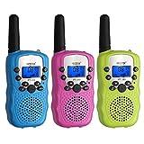 Proster 3 Pack Walkie Talkie para Niños Walky Talky Infantil a Batería 8 Canales Función VOX 8 Mini Radio Portátil Alcance 3 km Pantalla LCD con Retroiluminación - Verde Fluorescente Azul Rosa