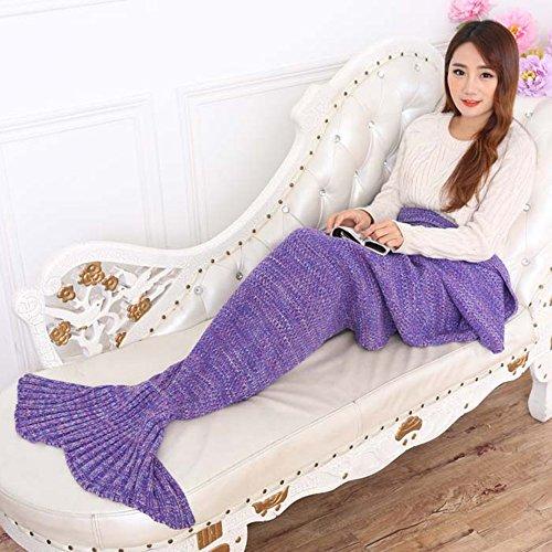 Topist sirena coperta a maglia sirena coda coperta per bambini e adulti, Super Morbida E Fashion Sacchi a pelo, Poliestere, Purple, Adults Style