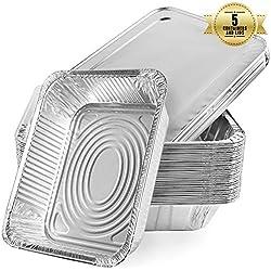 Barquettes jetables en aluminium, Grande contenance pour la cuisson au four, la cuisson, la congélation et le stockage + 5 plateaux avec couvercles argentés (5 pcs)