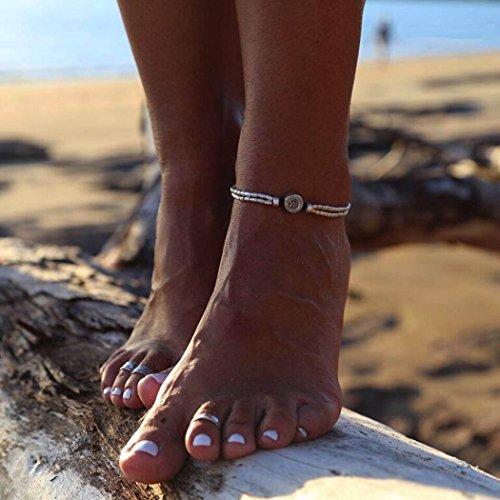 Chicer, Cavigliera da donna con stelle marine in stile vintage, regolabile, per sandali e per stare a piedi nudi sulla spiaggia