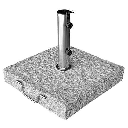 anndora Sonnenschirmständer Granit Grau Meißelschlagoptik rollbar Max 48, 38mm Stamm 40kg