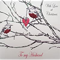 WHITE COTTON CARDS With Love Husband, Handmade Christmas Card (Robin)