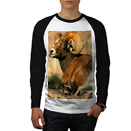 Wild Ziege Berg Tier Hoch Land Tiere Men XL Baseball LS T-shirt | Wellcoda (Land-baseball-jersey)