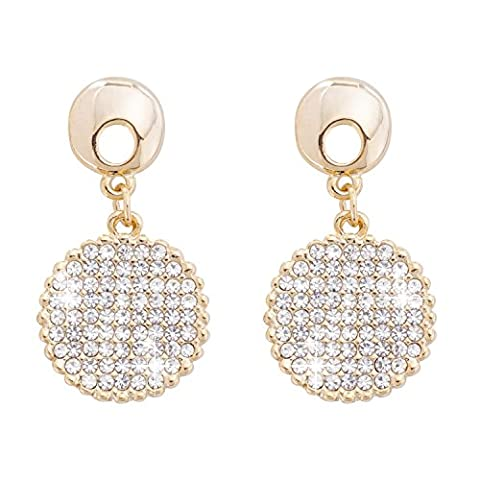 Jane Stone Ladies Earrings with Rhinestone Silver Dangly Round Circle Studs for Women and Girls 1