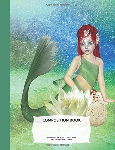 Mermaid Lotus Flower Watercolor Composition Notebook, College Ruled: Lined Student Exercise Book (Legends Halloween Star)