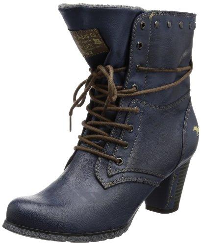 Mustang Schnür-Stiefelette, Damen Halbschaft Stiefel, Blau (800 dunkelblau), 41 EU