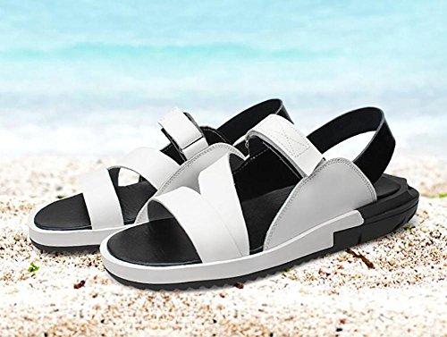 SYYAN Herren- Strand Sandalen Leder Atmungsaktiv Rutschfest Handgefertigt Flip Flop im Freien Freizeit White