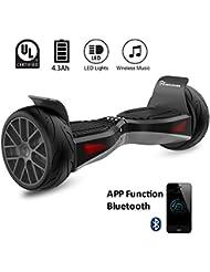 """EVERCROSS EL-ES04 Hoverboard Électrique 8,5"""" Skateboard Électrique Bluetooth Certifié Norme UL2272 2x400W (Noir)"""
