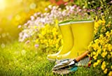vrupi Attrezzi da giardinaggio per esterni Fotografia Sfondo 7x5ft Primavera Giardino Fiori Bocciolo Vanga Giallo Colore verde Prato Verde Trame organiche e vegetali