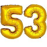 DekoRex® Folienballon Zahlenballon Luftballon Geburtstag Deko 80cm Zahl Gold 53