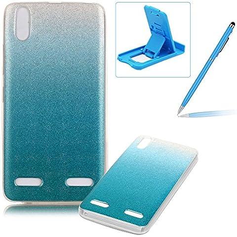 Lenovo A6000 Caja de goma de silicona resistente a los arañazos,Lenovo A6000 Ajuste perfecto La caja del gel de parachoques suave,Herzzer Luxury Elegante [Gradiente de color luz de las estrellas] Piel del arco iris del brillo de la jalea ligero flexible Gel Shell protector de la contraportada para Lenovo A6000 + 1 x Azul pata de cabra + 1 x Azul Lápiz óptico - Azul