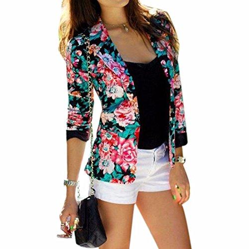 Frauen Art und Weise Blume Langarm-Jacke Kurzanzug Overcoat gedruckt