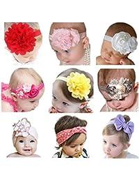 Vendas Del Bebé SWEETBB Bandas para la Cabeza del Recién Nacido con la Flor linda - 9 Paquete