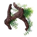 TOOGOO Green Dark Brown Fish Tank Aquarium Driftwood Plastic Tree 5.7 inch 10