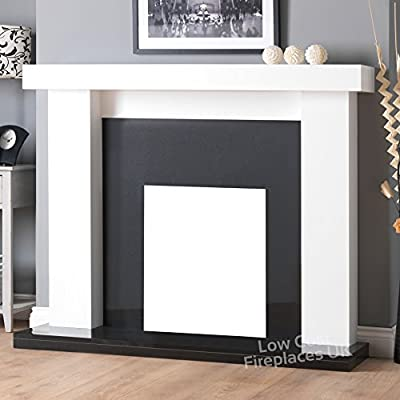 """Gas or Electric White Surround Black Granite Marble Surround Traditional Fire Fireplace Suite Big Large 54"""""""