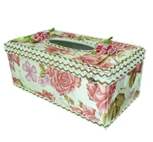 High Quality Plastic Paper Tissue Holder Box with Rose Designed Fabric Cover