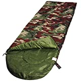 RuggedTrails® Camouflage Pattern Waterproof Hooded Sleeping Bag with Compression Carry Bag, (Cushion Weight - 1.25 Kg)