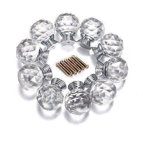 xshelley 10040mm Diamantschliff Kristall klar Glas Küche Schublade Schrank Türknauf Pull Griff Hardware für Schlafzimmer-Möbel, Kommode, Nachttisch, Einheit und Brust -