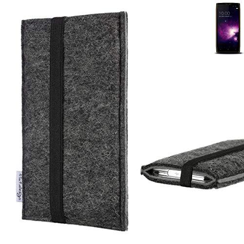flat.design Handyhülle Lagoa für Doogee S50   Farbe: anthrazit/grau   Smartphone-Tasche aus Filz   Handy Schutzhülle  Handytasche Made in Germany