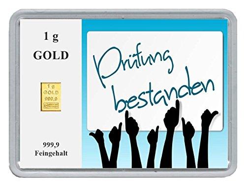 "New Edition 1g Goldbarren 999,9 Feingold in Motivbox""Prüfung bestanden"" in edler Goldverpackung"