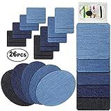 LZHOO Patches zum aufbügeln, 26 Stück 5 Farben Denim Baumwolle Patches Aufbügelflicken Bügelflicken DIY Bügeleisen Reparatursatz, 4 Größen