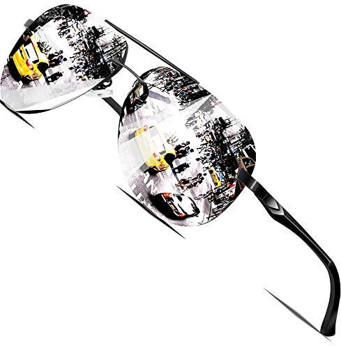 ATTCL Herren Polarisierte Sonnenbrille Al-Mg Metall Rahmen Ultra leicht A143-black-silver