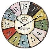 Cozyswan® Retro Francia París Colorido Francés País Estilo Toscano Silenciosa de Madera del Reloj de Pared