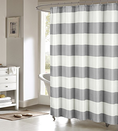 Serafina Toto Nautical Striped Cotton Blend Mildew Resistant Fabric Shower Curtain Liner for Bathroom Waterproof | Water Repellent & Antibacterial-Assorted Colors, 70 X 70 Inch, Grey Cotton Blend Liner