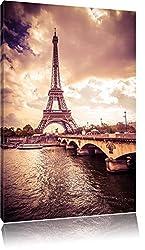 Eiffelturm in Paris, Format: 80x60 auf Leinwand, XXL riesige Bilder fertig gerahmt mit Keilrahmen, Kunstdruck auf Wandbild mit Rahmen, günstiger als Gemälde oder Ölbild, kein Poster oder Plakat