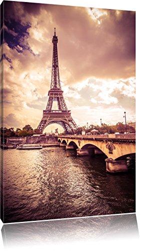 Eiffelturm in Paris, Format: 100x70 auf Leinwand, XXL riesige Bilder fertig gerahmt mit Keilrahmen, Kunstdruck auf Wandbild mit Rahmen, günstiger als Gemälde oder Ölbild, kein Poster oder Plakat