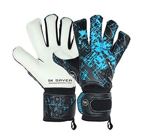 GK Saver Professional quality football goalkeeper gloves Prime Pro Black/Blue hybrid cut finger save gloves
