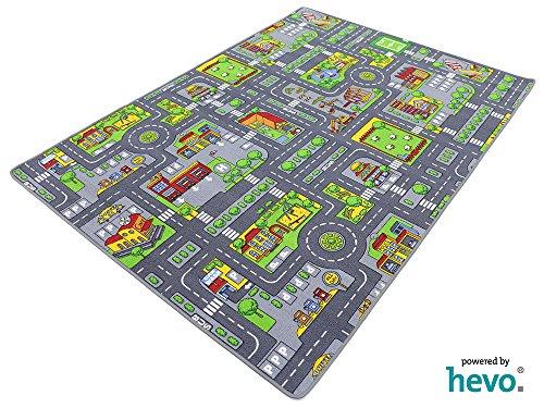 HEVO Stadt Mix Strassen Spielteppich | Kinderteppich 145x200 cm (Stadt-teppich Für Kinder)