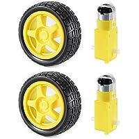 XCSOURCE® 2 juegos de motor de engranaje DC y rueda de neumático para DC 3V-6V Arduino Smart Robot Proyectos de coches (Amarillo) TE696