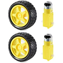 XCSOURCE® 2 juegos de motor de engranaje DC y rueda de neumático para DC 3V