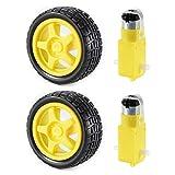 XCSOURCE 2 Sätze DC Zahnrad-Motor und Reifen-Rad für DC 3V-6V Arduino intelligente Auto-Roboter Projekte (Gelb) TE696