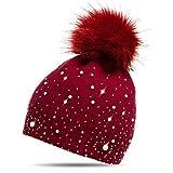 CASPAR MU143 Damen Fein Strick Winter Mütze mit Fellbommel, Farbe:rot;Größe:One Size