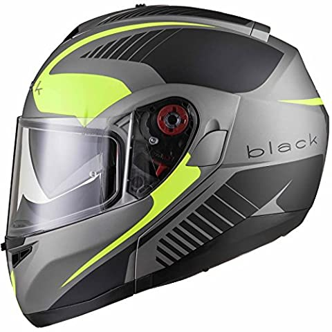 Black Optimus SV Tour Max Vision Flip Front Motorcycle Helmet M Matt Black Safety Yellow