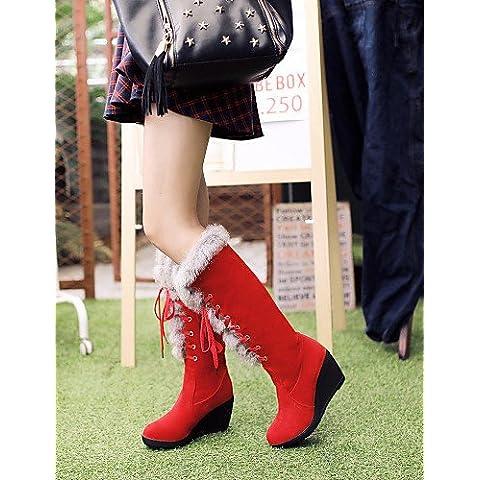 Ei&iLI Zapatos de mujer - Tacón Cuña - Cuñas / Innovador / Punta Redonda / Punta Abierta / Botas a la Moda - Botas -Exterior / Oficina y Trabajo , us8 / eu39 / uk6 / cn39