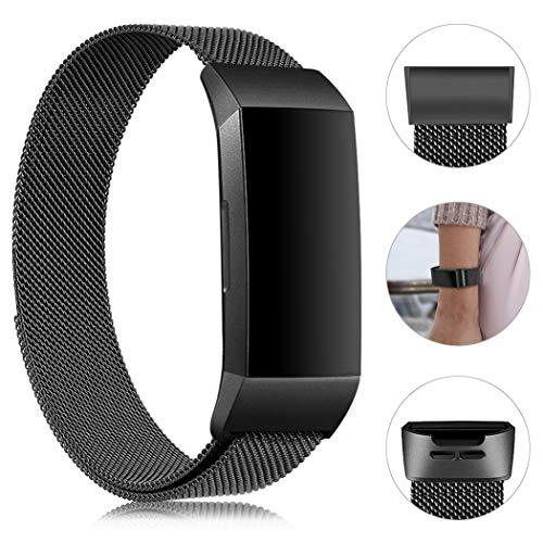 Gogoings compatibile per fitbit charge 3 cinturini metallo braccialetto di ricambio regolabile sport compatibile con fitbit charge3 cinturino per donne e uomini (senza orologio) (nero, s)