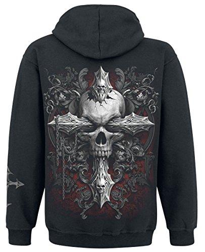 Spiral Cross of Darkness Felpa con cappuccio nero Nero